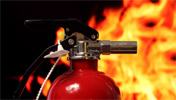 Pro-Safety small red extinguisher with flames